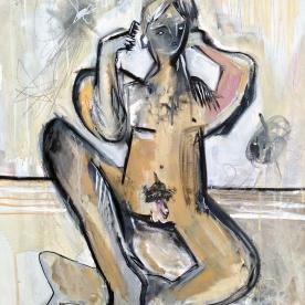 Nude Figure Combing Hair