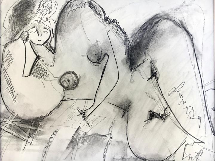 Nude Woman Writing