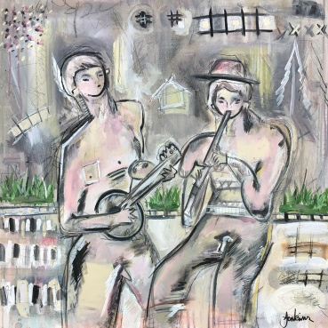 Two Musicians (Banjo and Flute Player)