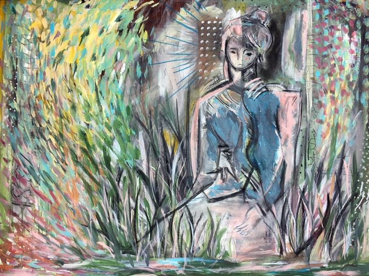 Woman Sitting In The Grass (After Van Gogh)