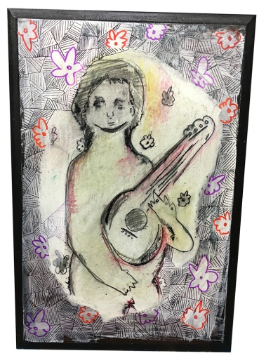 Boy With Music Instrument (Flowers)