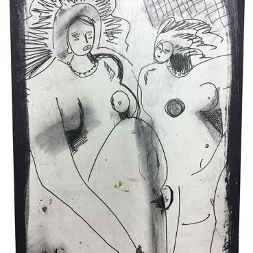 Two Nude Woman (big hair)