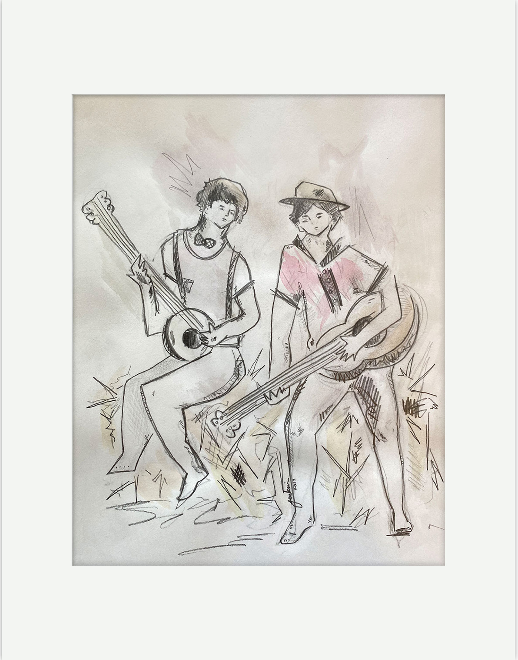 Banjo Players Sitting On Hay Stack